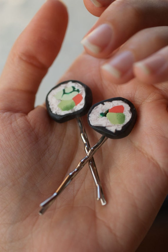 Bobby Pins - Sushi - Handmade Gag Gift - Polymer Clay Food - set of two