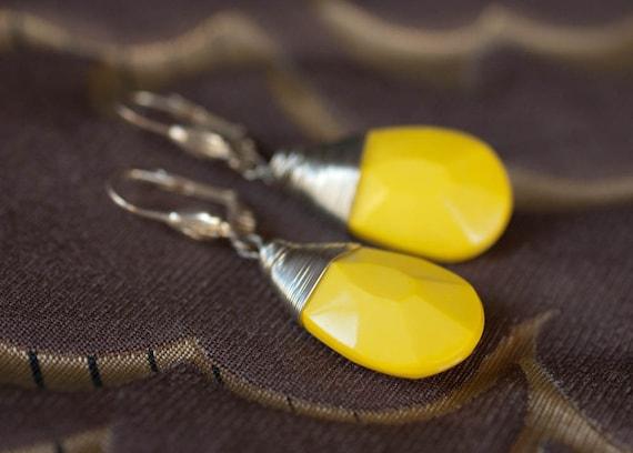 Earrings - Canary Yellow Teardrop Dangle - Sleek and Sexy - Silver and Lemon
