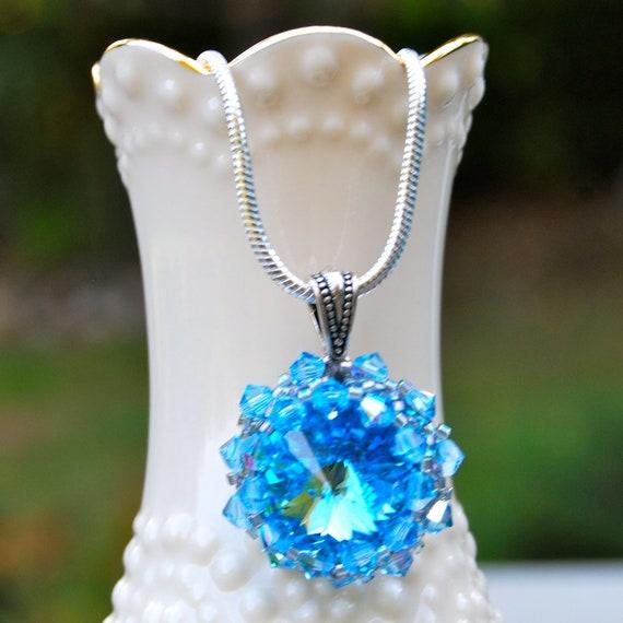 March Birthstone Aquamarine Swarovski Crystal Necklace
