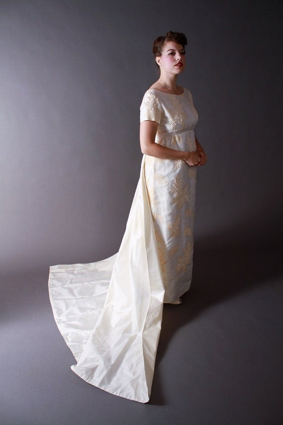 Vintage 1960s wedding dress regency style wedding gown with for 1960 style wedding dresses