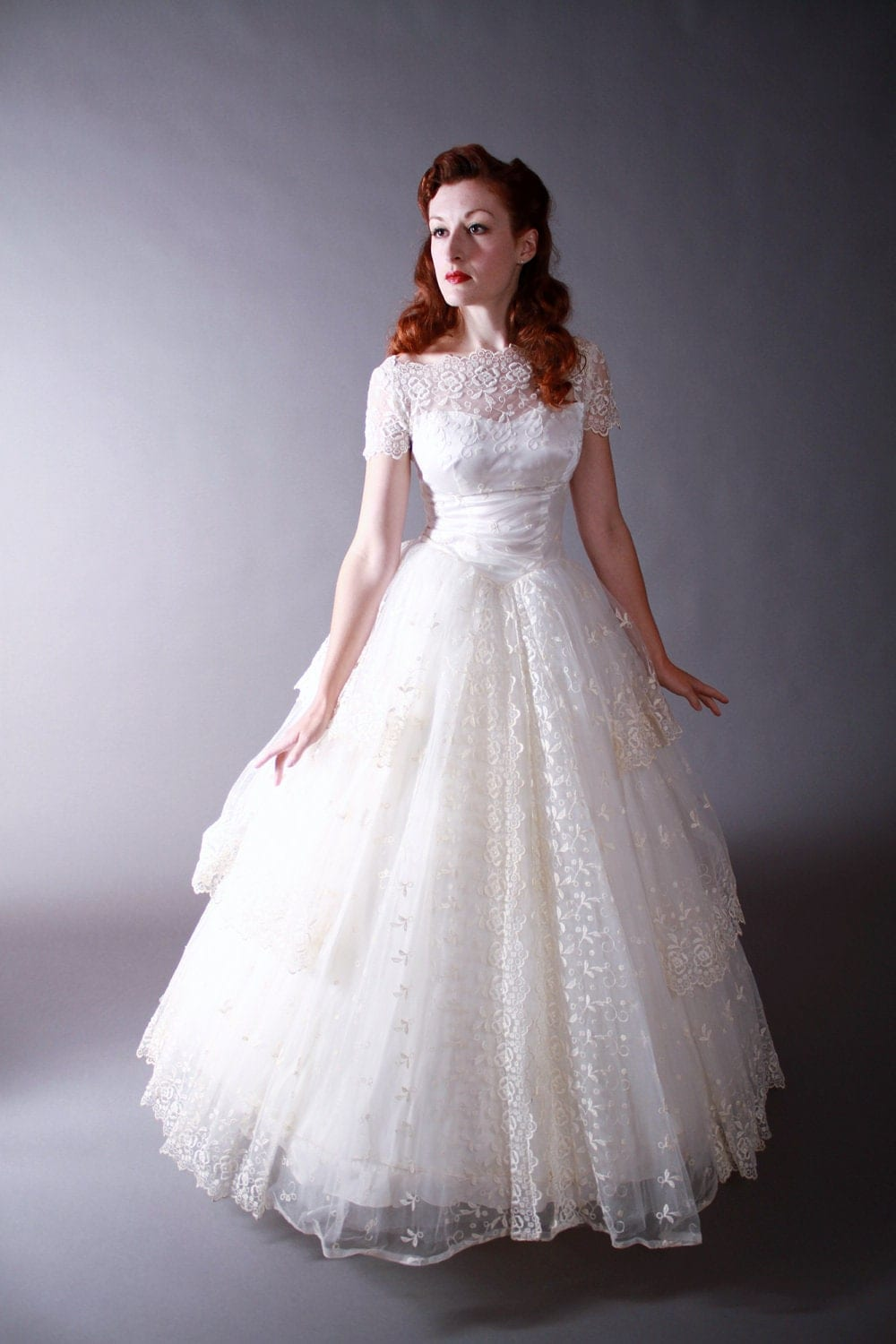 Vintage 1950s Wedding Gown Amazing Tiered Pale Ivory
