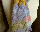 Entrelac Scarf in Pretty Pastels RESERVED for Mieke
