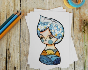 Summer postcards blue girl portrait (set of 5)