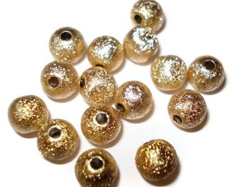 6mm Round Metallic Shimmer Foil ACRYLIC Beads (80) Gold