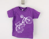 Toddler tshirt organic Bike That's How I Roll screen printed 2T 4T 6T black with gold ink