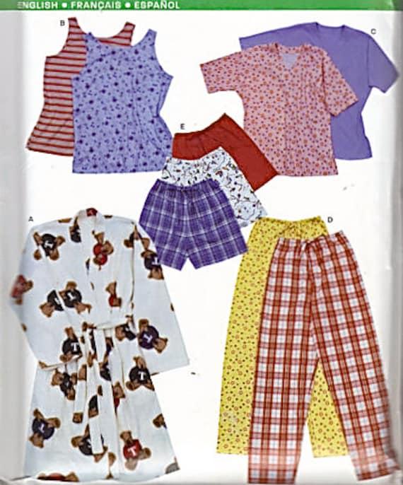 Easy SLEEPWEAR Sewing Pattern - Pajamas Robe PJs Sleep Pants Shorts Tops XS-XL