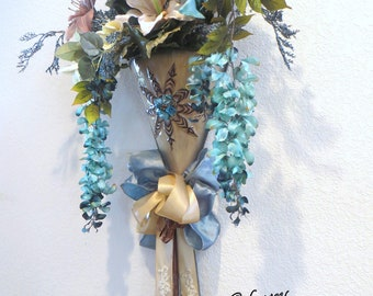 Aqua Turquoise, Tan and Brown Victorian Silk Lily Container Vertical Door or Wall Swag with Beaded Bow