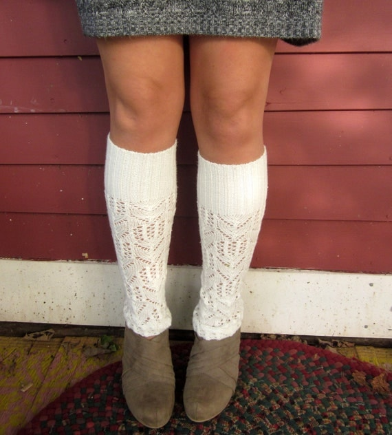 Sky White Lace Knit Upcycled Sweater Leg Warmers by MountainGirlClothing