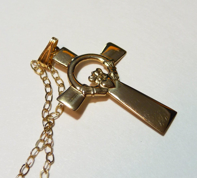 vintage 14k gold claddagh celtic cross pendant chain irish. Black Bedroom Furniture Sets. Home Design Ideas