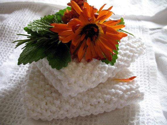 Wash Cloth Bright White Face Cloth or Kitchen Dish Cloth