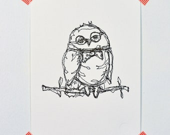 Owl Groom - Letterpress Print