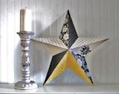 Large Tin Star... Designer Prints of Black, Yellow, Gray, White... Damask, Floral, Check... Home Decor, Wall Decor