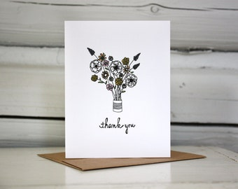 Thank you card set - Flowers in a Tin Can