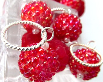 Raspberry Jam - Farm Fresh Series - Six Handmade Stitch Markers - Fits Up To 12 mm (17 US) - Limited Edition