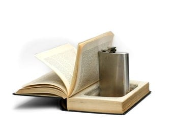 Hollow Book Flask Holder Stash Box Comes With 8 oz Flask Vintage Humor Comedy College Men Mens Birthday Gift Sneaky Booksafe - CUSTOM ORDER