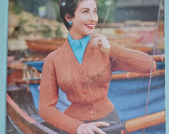 "Vintage 1950s Knitting Pattern Women's Cardigan Jacket fitted style - 50s original pattern - 34"" 36"" 38"" bust - Lee Target No. 1284 UK"
