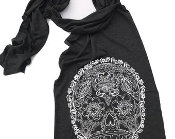 Scarf - Day of the Dead 2 - Sheer Jersey Tri-Blend (4 Colors Options)