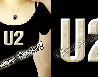U2 Band Concert Rhinestone Crystal Off Shoulder Tee Shirt T Top Glamour Glamour Rocks