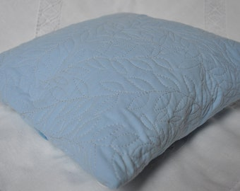 Blue scatter cushion / pillow - wisteria leaf design machine quilted