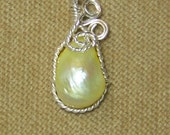 Pale Yellow FRESHWATER PEARL Sterling Silver Plate Wire Wrap Necklace Pendant