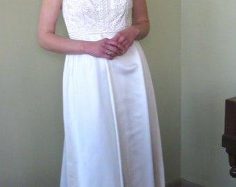 1960s White Satin Wedding or Prom Gown - Mad Men Era