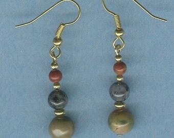 3 Tier Round Red Creek Jasper and Larvikite Gemstone Earrings