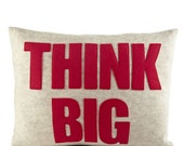 "THINK BIG - recycled felt applique pillow 14""x 18"" - more colors available"