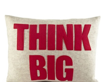"Decorative Pillow, Throw Pillow, ""Think Big"" pillow, 14 X 18 inch pillow"