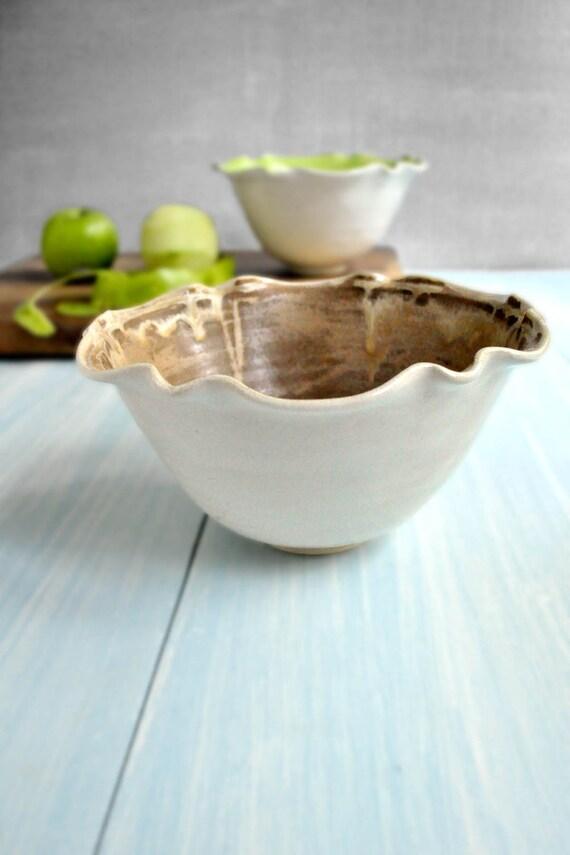 modern ceramic  Bowl SECONDS Sale Chocolate Sorbet and White glazes  4 cup Flower bowl minimalist