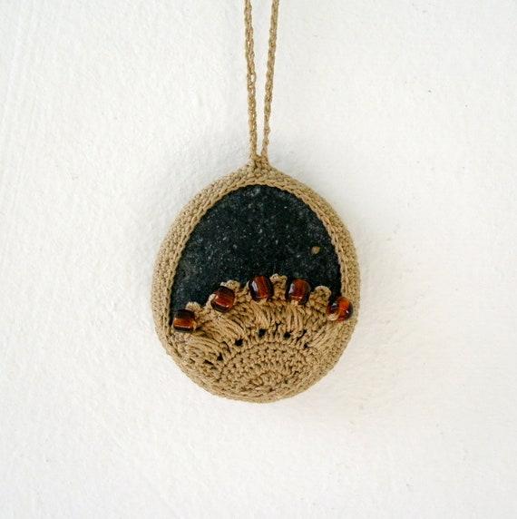 Crochet Lace Stone Necklace - Crochet Jewelry - Large Oversized Lace Stone Necklace - Beach Stone Lacy Pendant - Beach Wedding Necklace