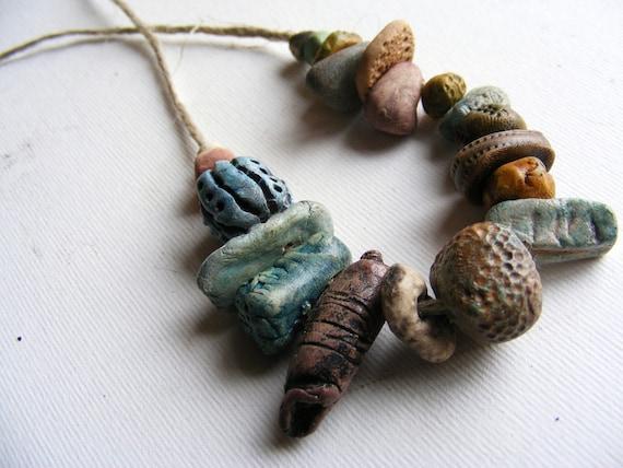 20 Artisan Clay Beads   clay beach stone handmade jewelry natural