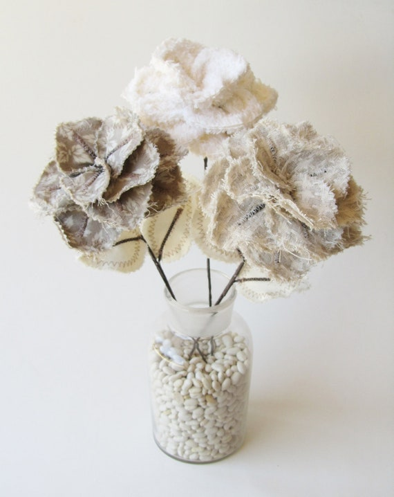 Fabric Flowers - Off White, Cream, and Taupe Houndstooth Chenille Flower Stems (set of 3)