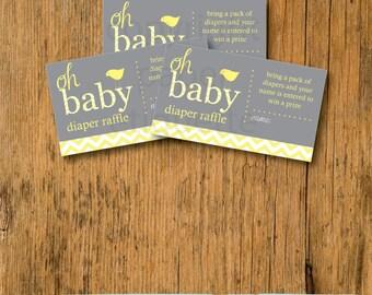 INSTANT UPLOAD - Baby Shower Games Diaper Raffle Yellow and Gray Chevron, Diaper Raffle Ticket, Baby Shower game, Baby Shower Diaper Raffle