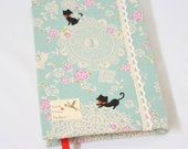 Journal Notebook Cats and Flowers Blue Fabric Lace Handstitch Coptic Stitch (Size A6)