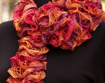 Hand Knitted Ruffles Scarf in Cinnamon Orange, Cranberry Red, and Plum Purple (Long Lacy Ruffle Hand Knit)