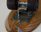 Recycled Skateboard Bling Dot Charm Necklace- Try Tri Triangle