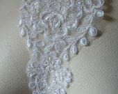 SALE Alencon Lace Applique in Off White for Bridal, Headbands, Sashes, Costume Design WA 595