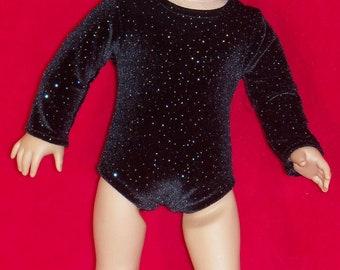 18 inch Doll Black Sparkle Stretch Velvet Gymnastic Leotard