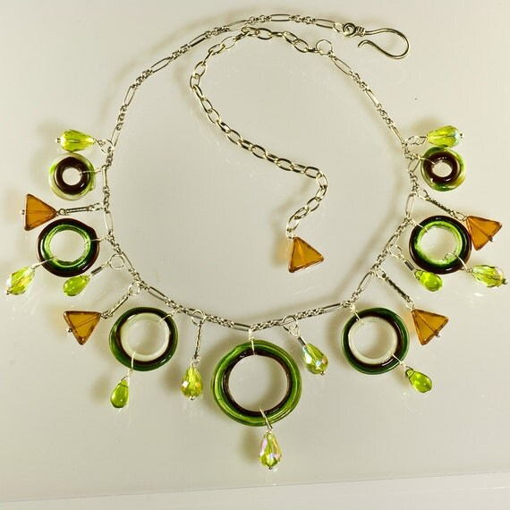 Gypsy Necklace in Greens & Browns, Handmade Glass Jewelry