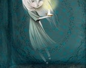 Fine Art Print - 'Haunt' - 8.5x11 or 8x10  Medium Sized Lowbrow Art Print - Little Ghost Girl with Candle - Cute Creepy Art