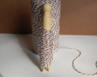 20 Yards Cappuccino Brown Bakers Twine on a Clothespin -- Ready to Ship