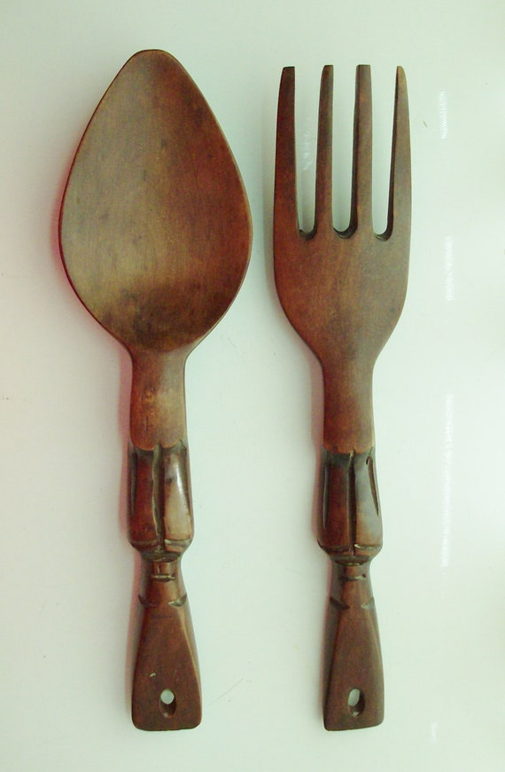 Wall Decor Wooden Fork And Spoon : Small tiki wooden fork and spoon wall decor