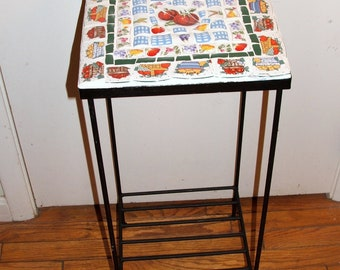 Mosaic Topped Metal Plant Stand / Patio Table  Fruit and Vegetable Motif