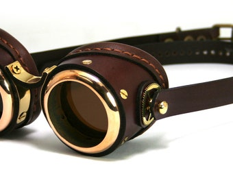 STEAMPUNK GOGGLES brown leather polished brass SMPL Solid Frames