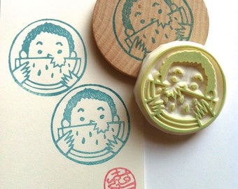 Lion Face Hand Carved Rubber Stamp Safari Animal By