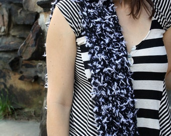 Handknit Scarf Black and White - Womens Fuzzy Scarf - Winter Accessory - Womens Knit Accessories READY to SHIP