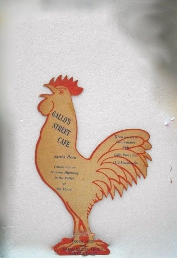 Sold To Antique Fun 48////Vintage Wine Menu OOAK Chicken Rooster Shaped Gallos Street Cafe Santa Rosa CA 1950s