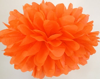 BRIGHT ORANGE / 1 tissue paper pom pom / birthday party poms / diy / halloween decorations / orange decorations / primary orange / pompoms