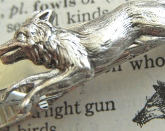 Silver Fox Tie Clip Gothic Victorian Tie Clip Vintage Inspired Reproduction Men's Gifts For Him Men's Tie Clips Silver Tie Bar
