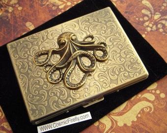 Big Octopus Cigarette Case Oversized Business Card Holder Gothic Victorian Steampunk Vintage Inspired Antiqued Gold Brass Tone Metal Wallet